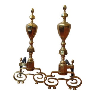 20th Century Traditional Brass Fireplace Andirons - a Pair For Sale