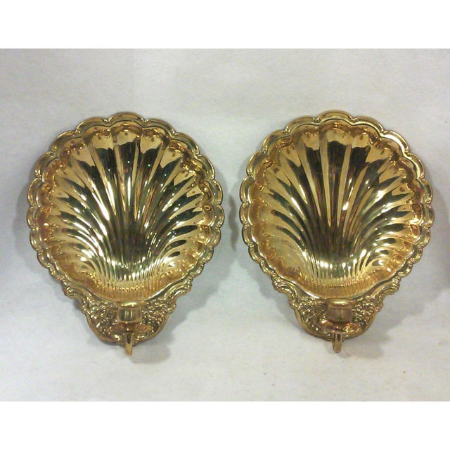Solid Brass Shell Wall Candle Sconces - A Pair - Image 2 of 8