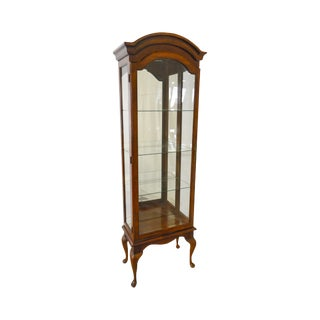 Thomasville Narrow Beveled Glass Queen Anne Display Curio Cabinet