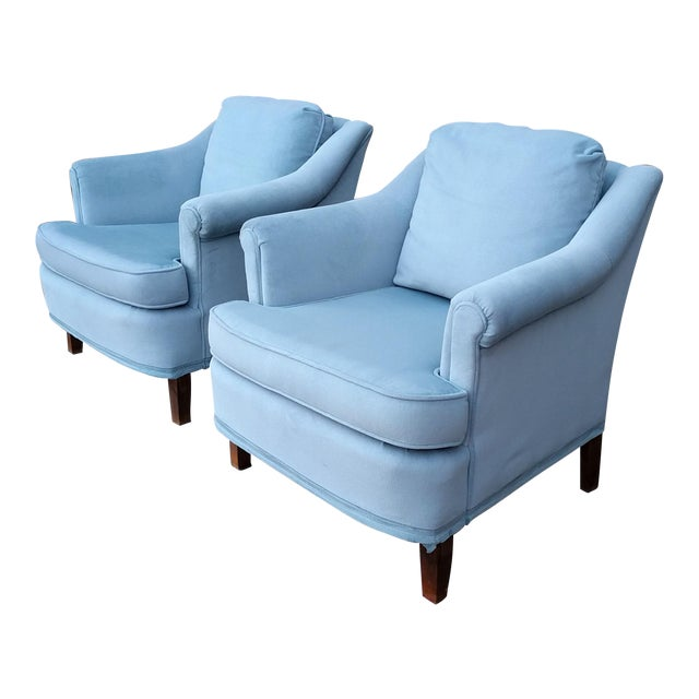 Vintage Blue Velvet Rolled Arm Club Chairs by Sam Moore Furniture - A Pair - Image 1 of 11