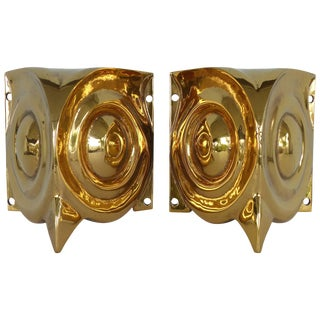 French Art Deco Gilt Bronze Stylized Owl Sconces Acquired in the South of France For Sale