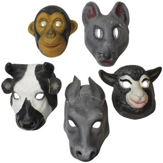 Papier Mâché Animal Masks - Set of 5 For Sale