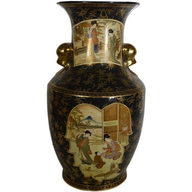 Vintage Hand-Painted Porcelain Vase with Gilded Accents from 20th Century, China For Sale - Image 10 of 10