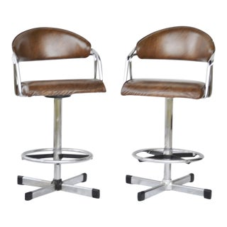 Vintage Mid-Century Modern Samsonite Swivel Chrome & Vinyl Bar Stools - a Pair