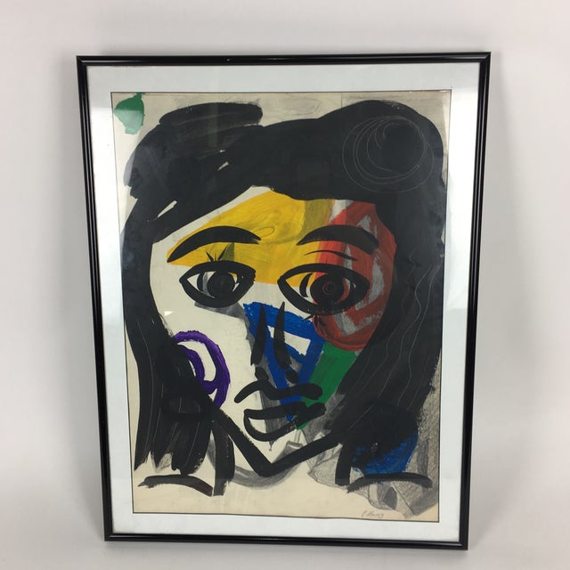 Blue Peter Keil 1959 Colorful Face Abstract Painting For Sale - Image 8 of 8