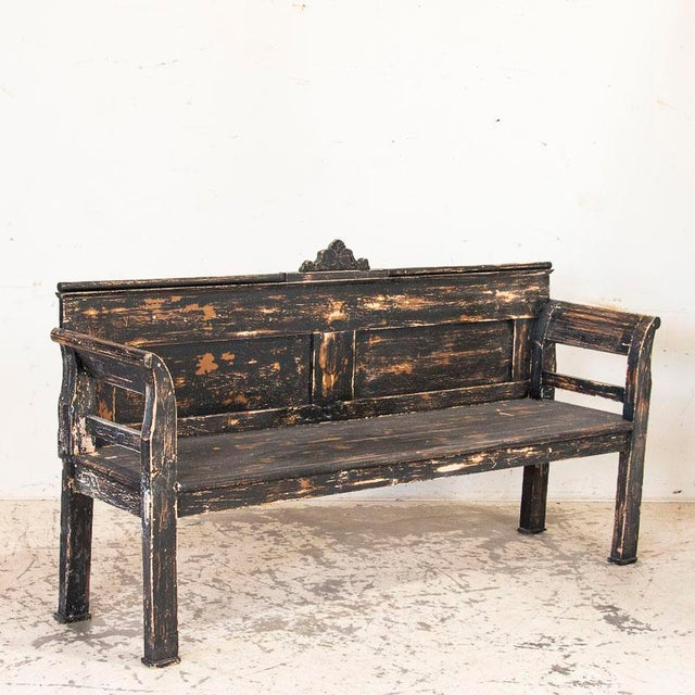 Antique Simple Black Painted Pine Bench From Hungary For Sale - Image 9 of 9