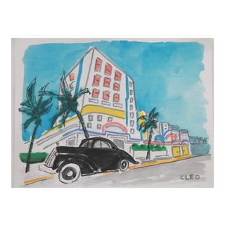 Miami Beach City Landscape Art Deco Painting by Cleo For Sale
