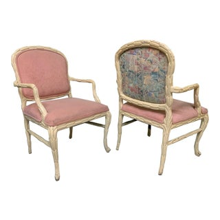 Faux Bois Style Carved Wood Arm Chairs - a Pair For Sale