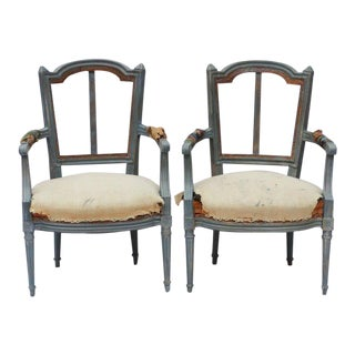 Pair of French Louis XVI Style Fauteuil Armchairs, Early 20th C For Sale