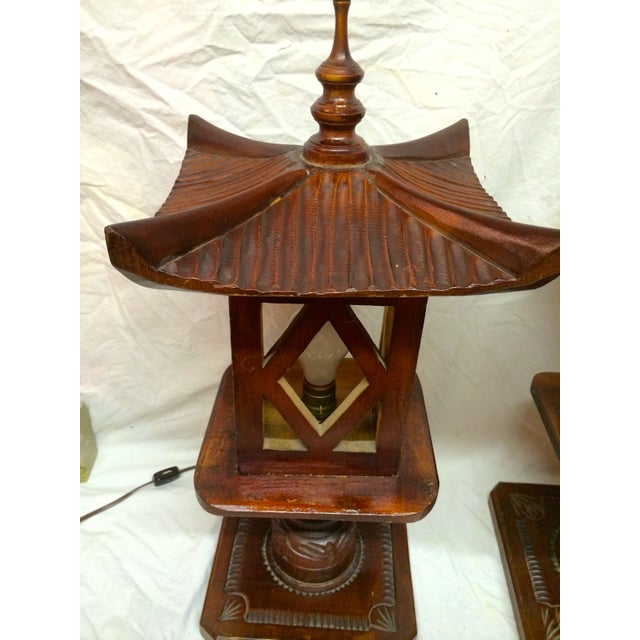 Asian Hand Carved Wood Pagoda Lamps - A Pair For Sale - Image 3 of 5