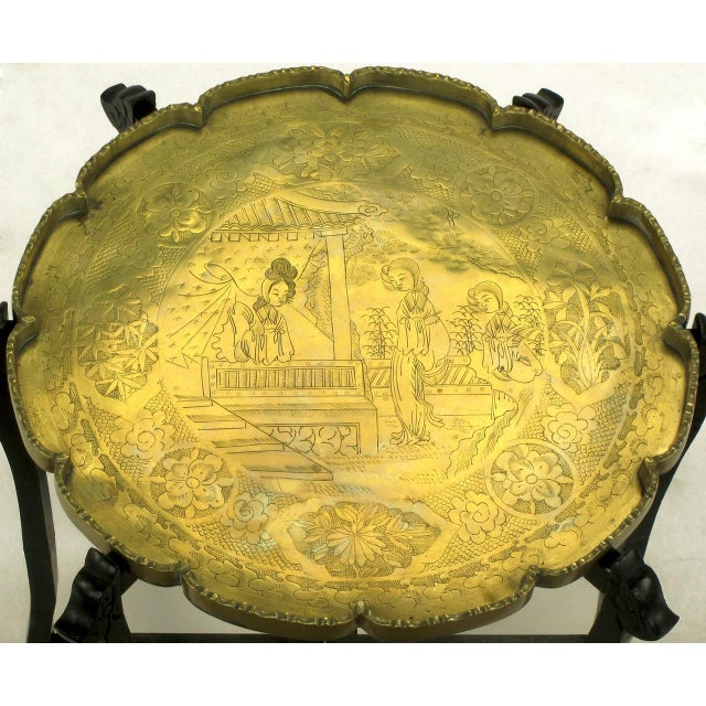 Gold Carved Ebony Folding Table with Etched Brass Tray Top For Sale - Image 8 of 9
