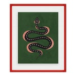 Apple the Snake by Willa Heart in Dark Red Acrylic Shadowbox, Small Art Print