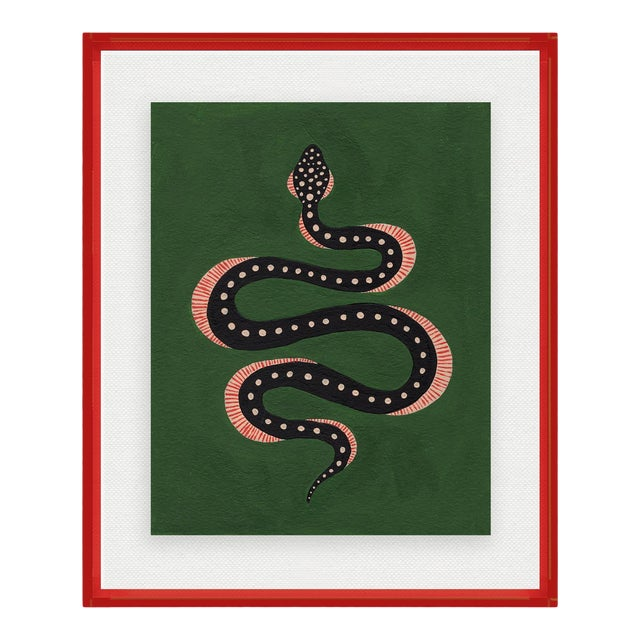 Apple the Snake by Willa Heart in Dark Red Acrylic Shadowbox, Small Art Print For Sale