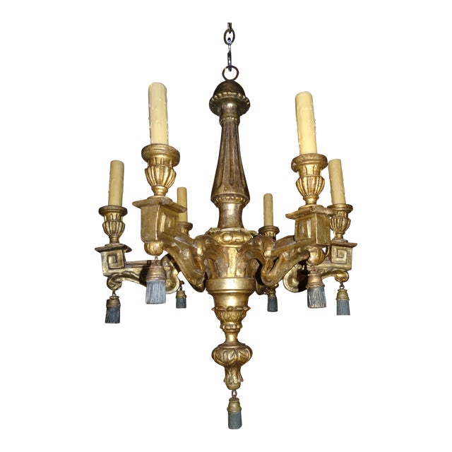 18th Century Italian Gilt Wood Chandelier For Sale
