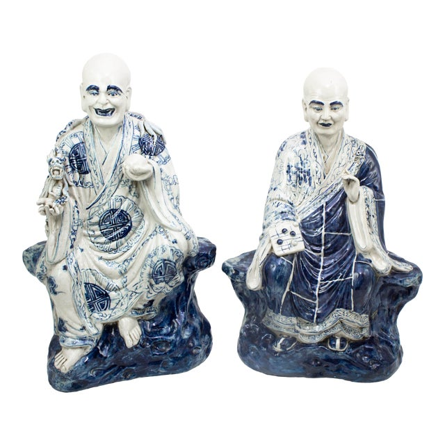 Chinese Blue and White Porcelain Seated Immortals - a Pair For Sale