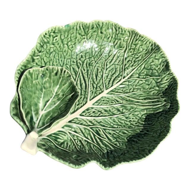 Vintage Majolica Cabbage Leaf Serving Platter For Sale