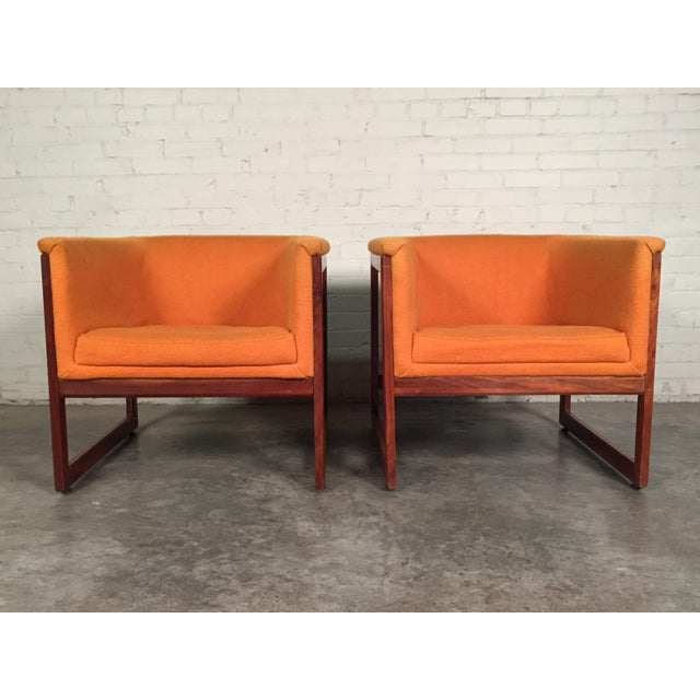 Milo Baughman Mid-Century Modern Floating Cube Chairs - A Pair For Sale - Image 5 of 10