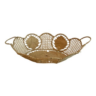 Vintage Cottage Style Woven Basket For Sale