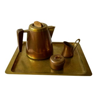 Rare Hagenauer wHw Austrian Art Deco Copper and Brass Coffee Service Set With Tray For Sale