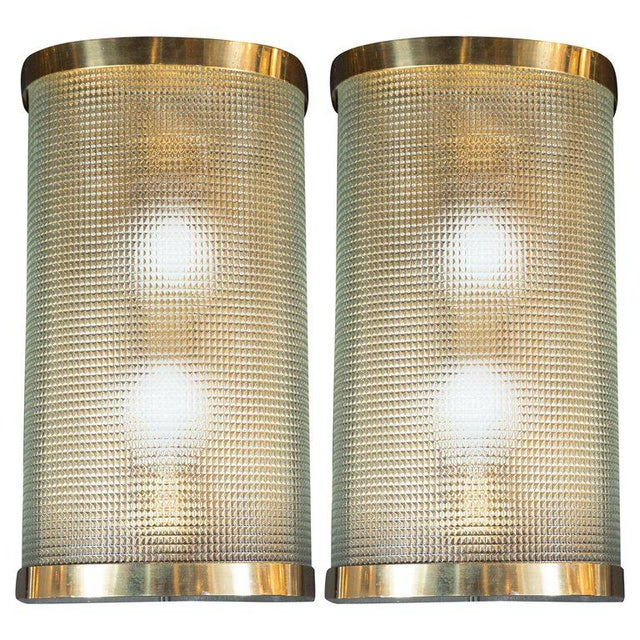 Brass Mid-Century Modern Brass Wrapped Sconces With Rectilinear Textured Glass Shades - a Pair For Sale - Image 7 of 7