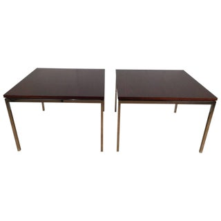 Florence Knoll T-Angle Rosewood and Chrome Side Tables - a Pair