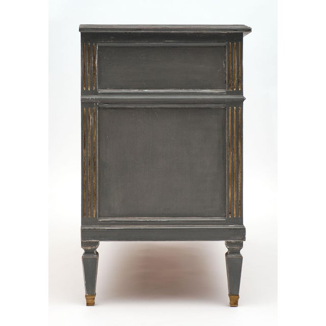 Bronze Antique Louis XVI Style Gray Painted Chest For Sale - Image 7 of 10