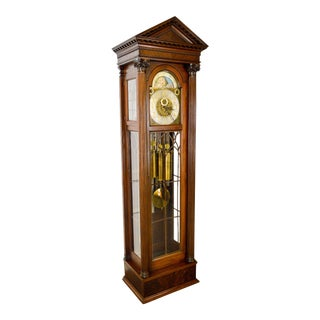 Ellis Bros. Antique Mahogany Column Front 9 Tube Grandfather Clock