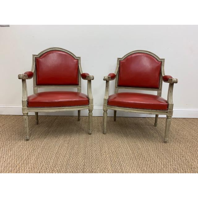 French 19th Century French Louis XVI Fauteuils Style Chairs - a Pair For Sale - Image 3 of 13