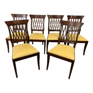 Modern Henkel Harris Mahogany Dining Chairs - Set of 6 For Sale
