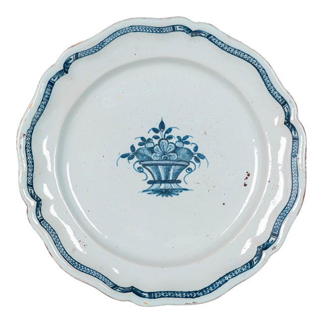 18th Century French Rouen Ceramic Platter For Sale