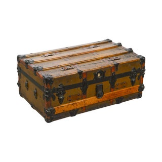 Antique Vintage Travelers Trunk Coffee Table For Sale