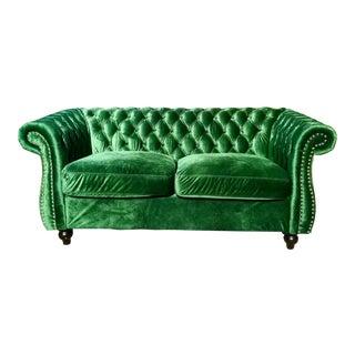 Vintage Inspired Green Velvet Chesterfield Loveseat For Sale