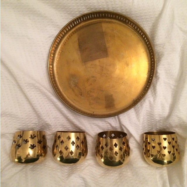 Vintage Brass Tray With Votive Candle Holders - Image 4 of 6