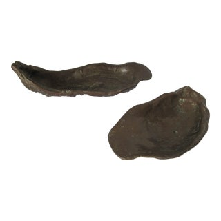 Vintage Brass Oyster Shells- 2 Pieces For Sale