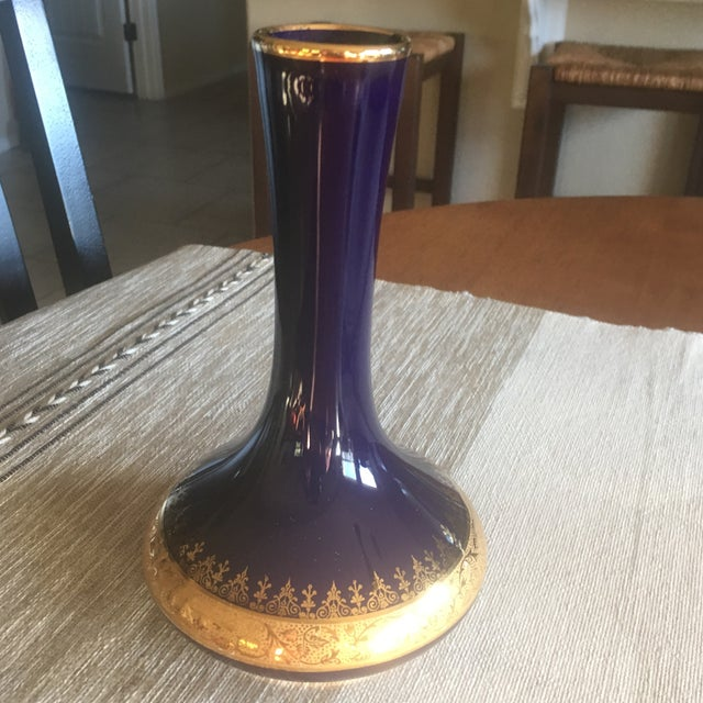 Limoges Cobalt Blue 22k Gold Vase Chairish
