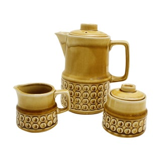 Mid-Century Ceramic Japanese Tea / Coffee Pottery Service Set - S/3 For Sale
