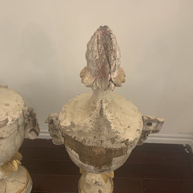 White 18th Century Antique Portuguese Finials - a Pair For Sale - Image 8 of 13