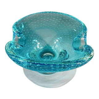 Vintage Mid Century Murano Ashtray Catchall Turquoise Controlled Bubbles For Sale
