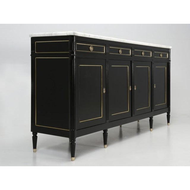1930s French Louis XVI Ebonized Buffet With Marble Top For Sale - Image 5 of 12