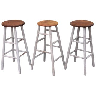 Collection of Three Original White Painted Bar Stools For Sale
