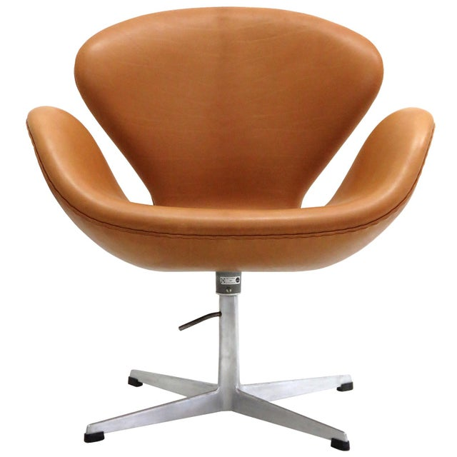 Arne Jacobsen Model 3320 Brown Leather Swan Chair For Sale - Image 13 of 13