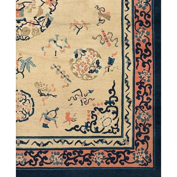 This elegant Chinese carpet utilizes a traditional Chinese medallion surrounded by auspicious motifs including scholars'...