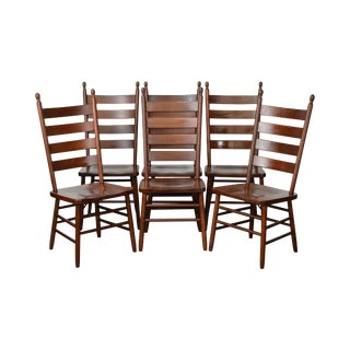 Custom Crafted Solid Cherry Ladder Back Dining Chairs - Set of 6