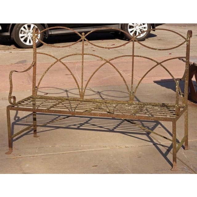 Early 20th Century Early 20th Century Neoclassical Wrought Iron Garden Bench For Sale - Image 5 of 10