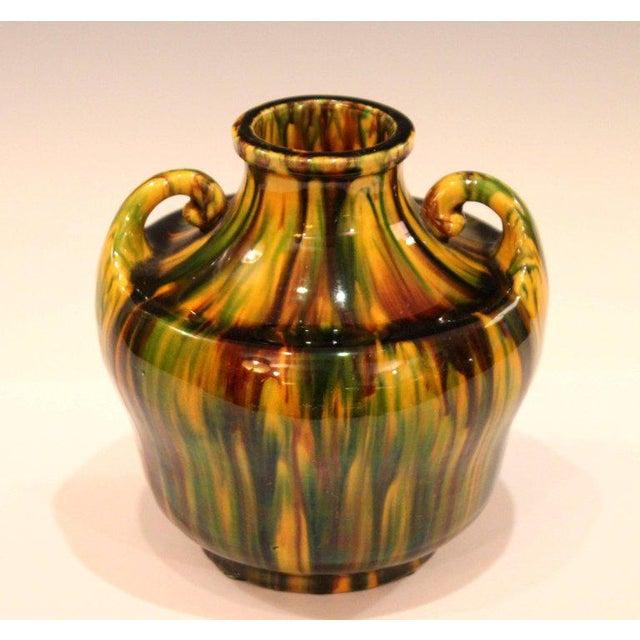 Awaji Pottery Art Deco Japanese Vintage Studio Vase in Yellow Flambe Glaze For Sale - Image 4 of 9