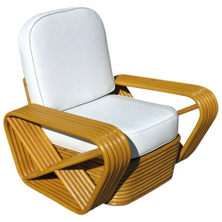 Restored Paul Frankl Style Square Pretzel Rattan Lounge Chair For Sale