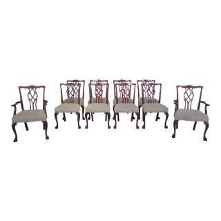 Kindel Chippendale Mahogany Clawfoot Dining Chairs - Set of 10 For Sale