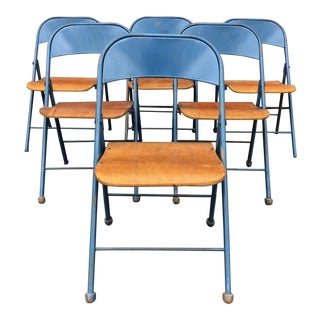 1950s Vintage Industrial Folding Chairs - Set of 6 For Sale