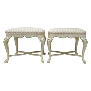 Vintage French Louis XV Regency Benches - A Pair For Sale