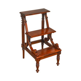Regency Style Solid Mahogany 3 Tier Library Steps For Sale